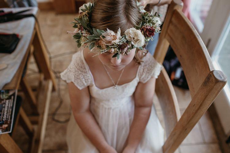 Flower Girl in Monsoon Dress with Flower Crown