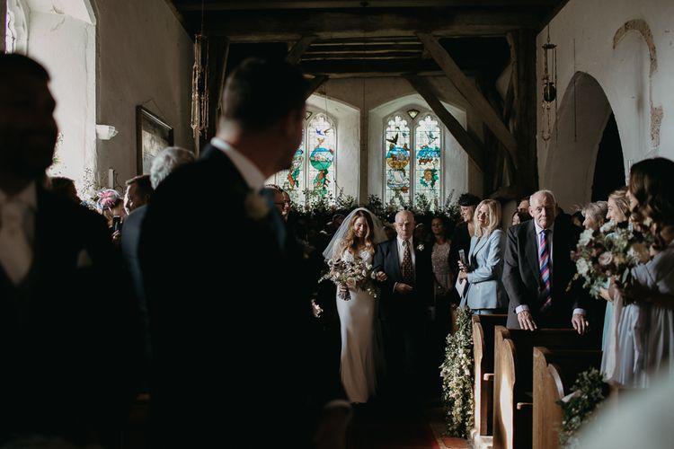 Church Wedding Ceremony Bridal Entrance in Lace La Sposa Wedding Dress