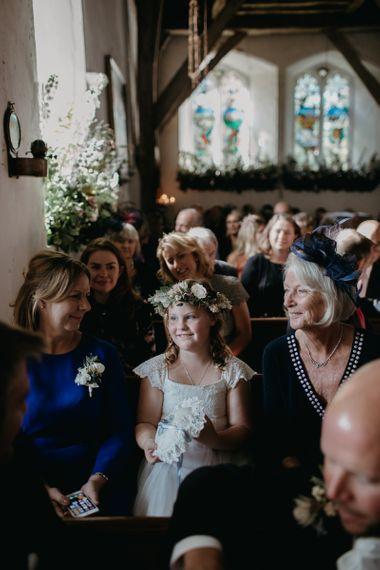 Flower Girl at the Church Wedding Ceremony