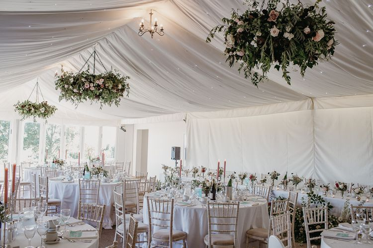 Marquee Wedding Reception with Floral Chandeliers,  Floral Centrepieces and Pink Candles