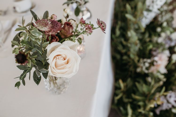 Blush Pink and Burgundy Wedding Flowers with Foliage