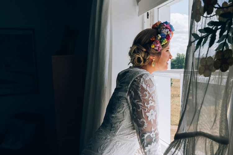 Bride In Brightly Coloured Flower Crown // Image By Casey Avenue Photography
