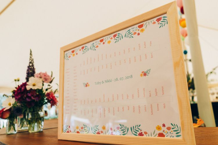 Wildflower Table Plan For Wedding // Images By Casey Avenue Photography