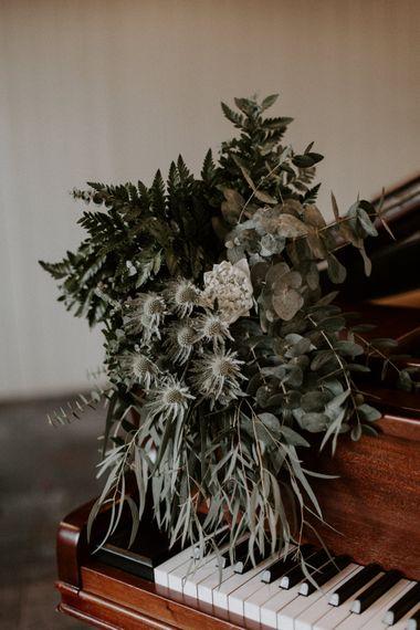Foliage & White Protea Wedding Bouquet // Images By Grace Elizabeth Photo And Film