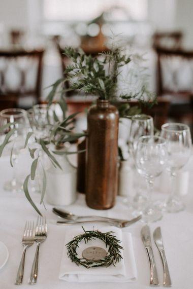 Brown Stoneware Vase Wedding Decor //  Images By Grace Elizabeth Photo And Film