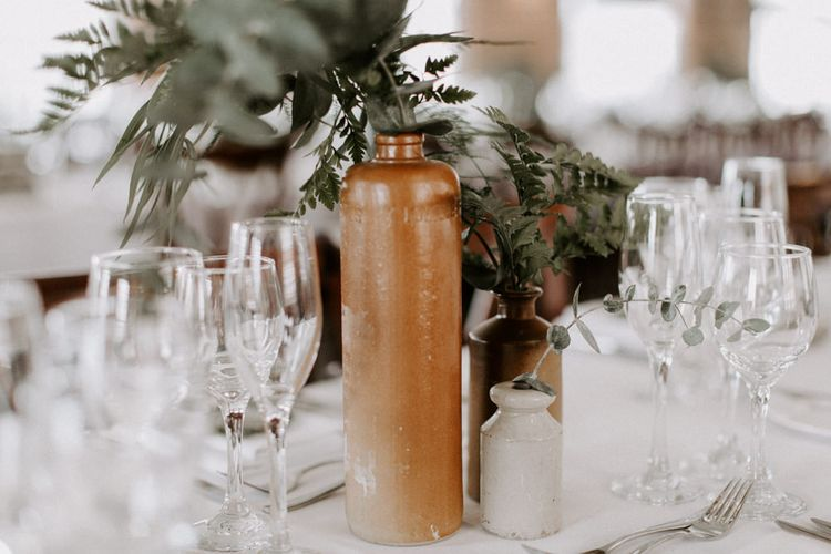 White Linen & Green Foliage For Wedding Reception // Images By Grace Elizabeth Photo And Film