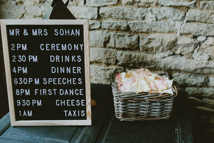 Wedding Order Of The Day Sign // Image By David Jenkins Photography