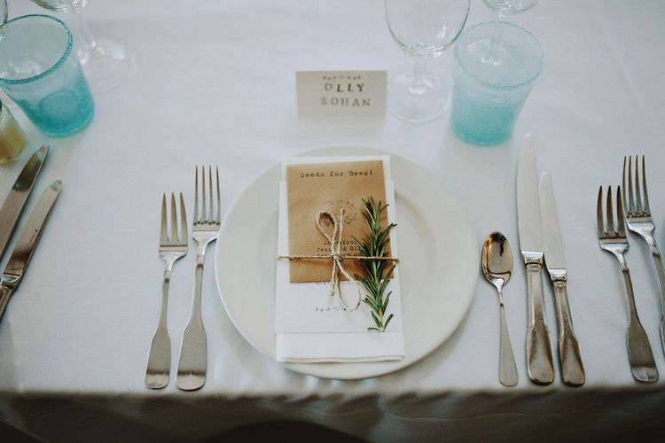 Wedding Place Setting With Rosemary Sprig // Image By David Jenkins Photography