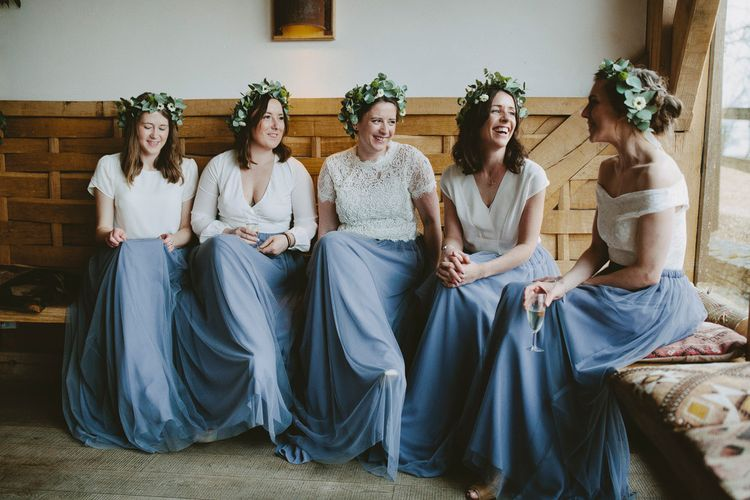 Bridesmaids In Cornflower Blue For Winter Wedding At Cripps Barn // Images David Jenkins Photography // Bride In Stewart Parvin Dress