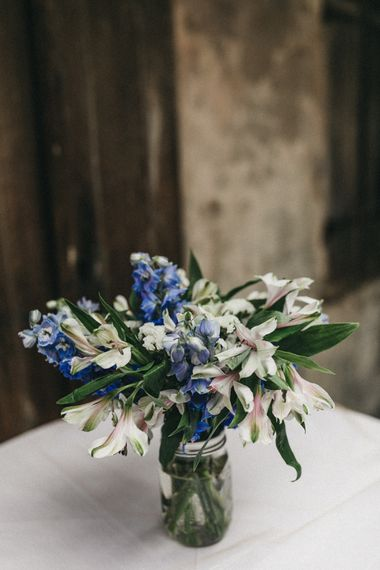 Blue and White Wedding Flowers in a Jar