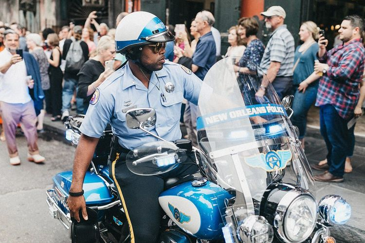 New Orleans Police Officer on a Motorbike