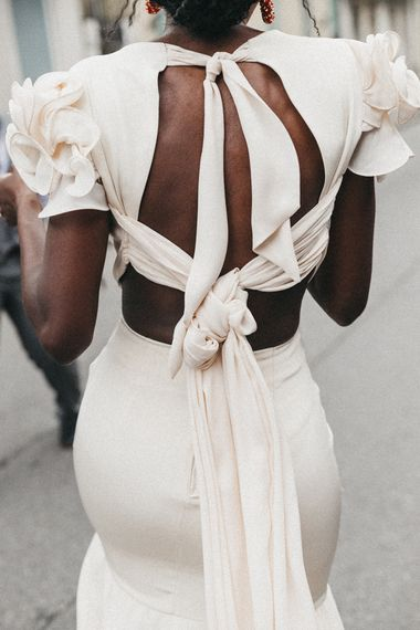Bride in Johanna Ortiz Wedding Dress with Tie Back Detail