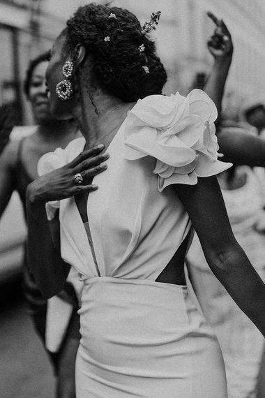 Bride in Johanna Ortiz Wedding Dress with Ruffle Shoulder Detail