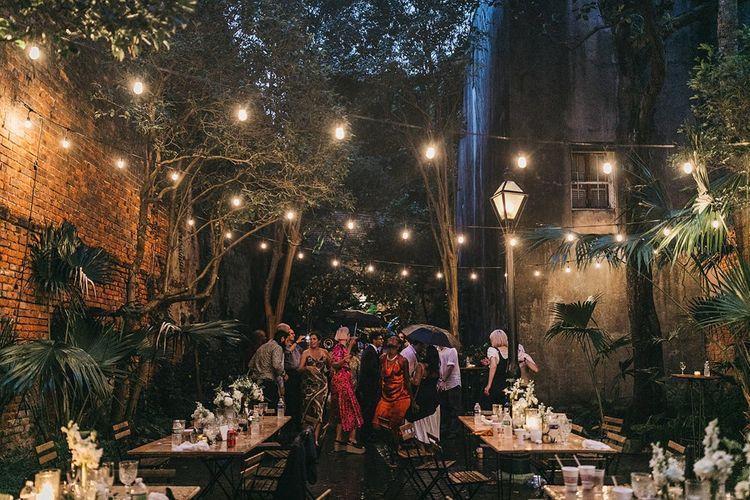 Festoon Lit Courtyard Wedding Reception  Decor