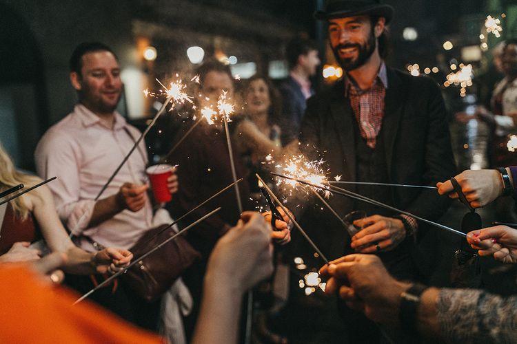 Wedding Guests Lighting Sparklers