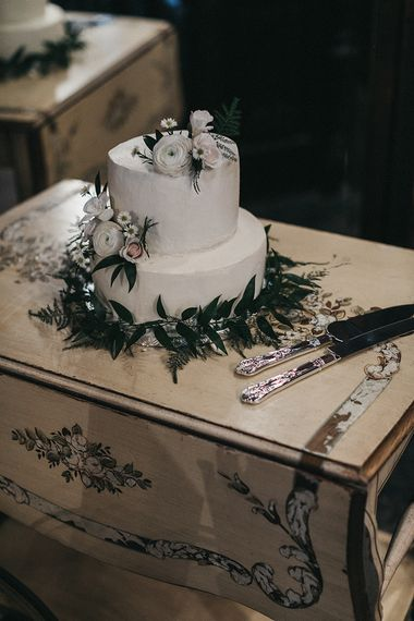 Two Tier White Wedding Cake with Flower Decor