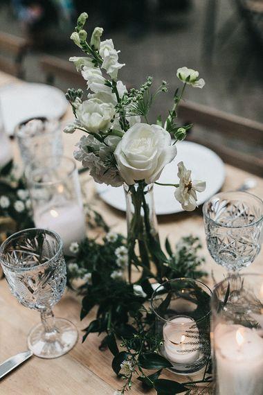 White Wedding Flower Stems in Glass Votive