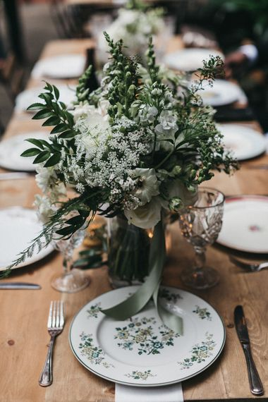 White and Green Wedding Flowers and Printed Tableware