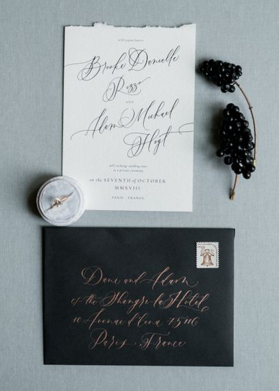 Calligraphy Wedding Stationery with Black Envelope and Gold Font