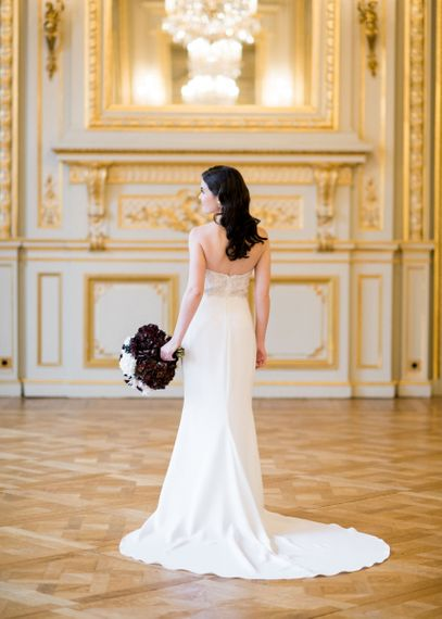 Beautiful Bride in an Off The Shoulder Tara Keely Wedding Dress with Finger Waves Hair
