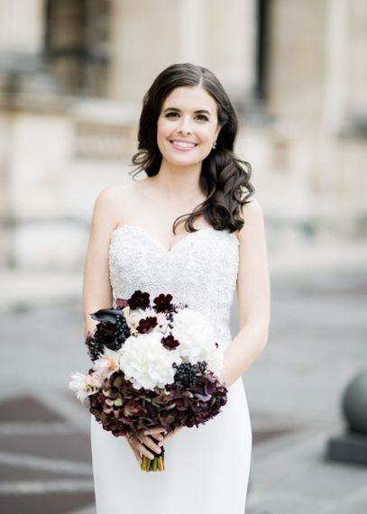 Glamorous Bride in Tara Keely Wedding Dress with Black and White Wedding Bouquet