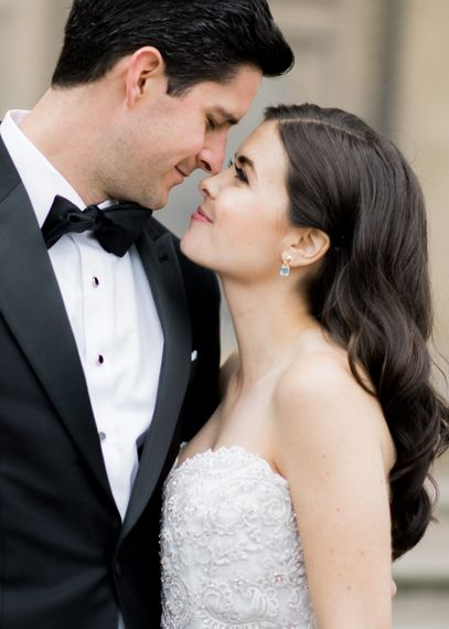 Intimate Bride and Groom Portrait Looking into Each Others Eyes