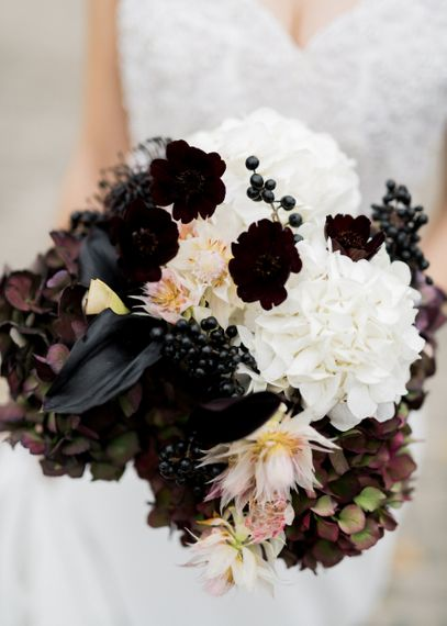 Black and White Bridal Bouquet with Hydrangeas and Lilly Wedding Flowers