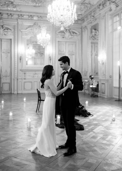 Glamorous Bride and Groom Taking Their First Dance