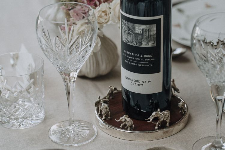 Silver elephant wine coaster from the Wedding Present Co.