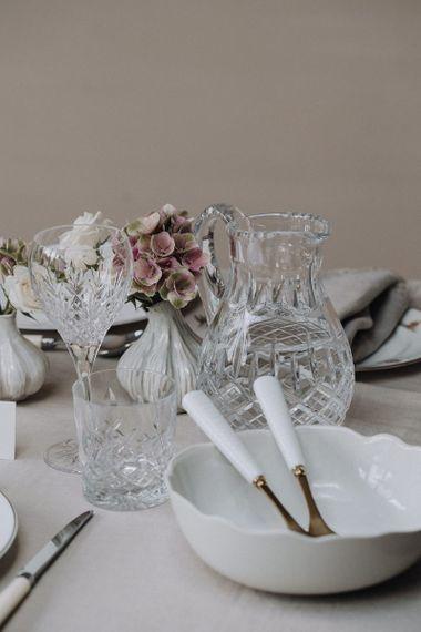 Crystal watering jug and tubers plus serving bowl