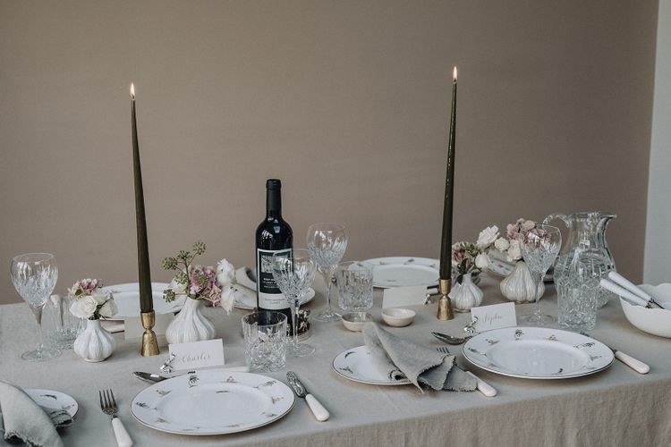 Elegant tablescape styled by ByCheani with items from the Wedding Present Co. gift list