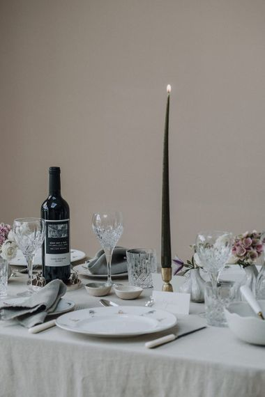 Romantic candle light at tablescape styled by Chenai