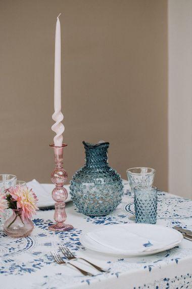 Coloured glass jug and tumblers