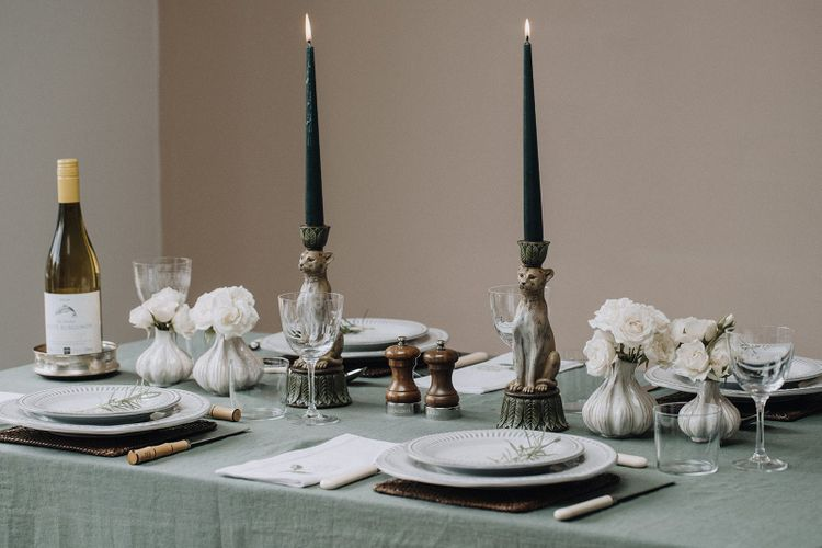 Green and brown tablescape