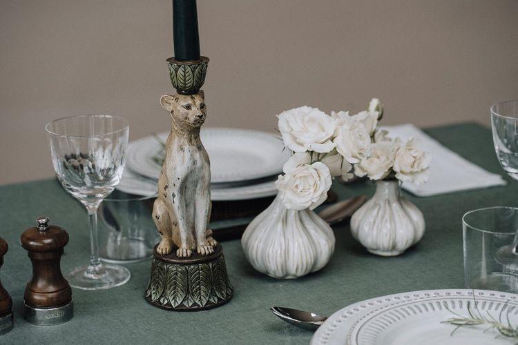 Leopard candlestick holder