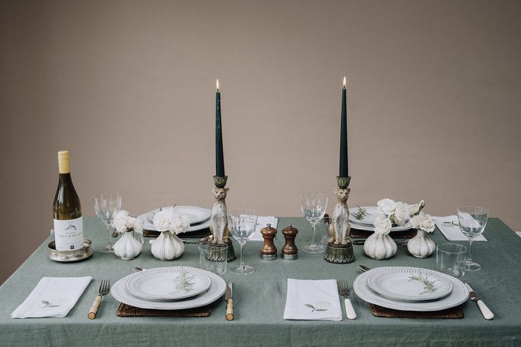 Green, brown and white tablescape