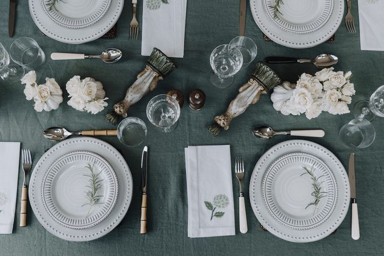 Green and white tablescape by Chenai and the Wedding Present Co.