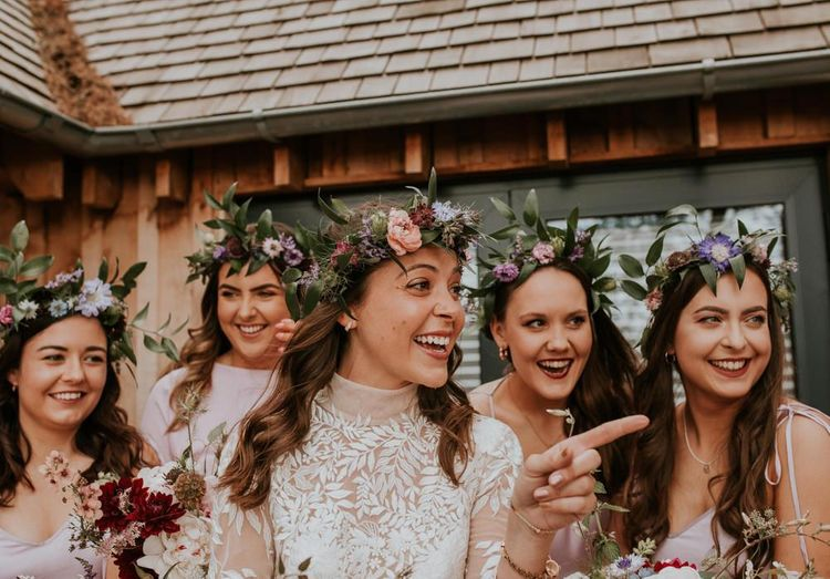 Flower crown for bride and bridesmaids