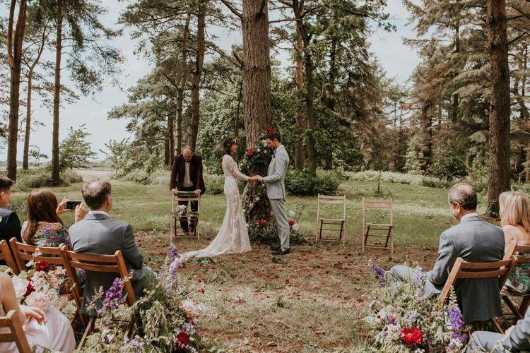 Outdoor wedding ceremony at Norfolk Wedding Venue