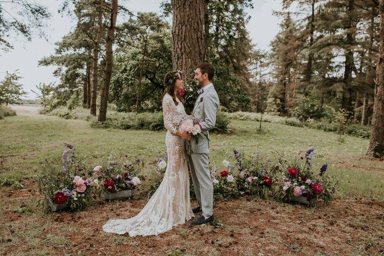 Pink wedding flowers at woodland wedding in Norfolk
