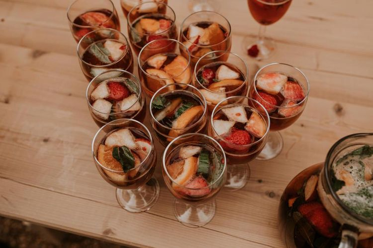 Pimms drinks reception at Norfolk wedding venue