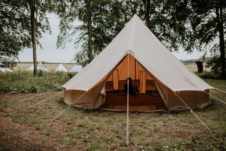 Bell Tents erected at Norfolk wedding venue for rustic celebration