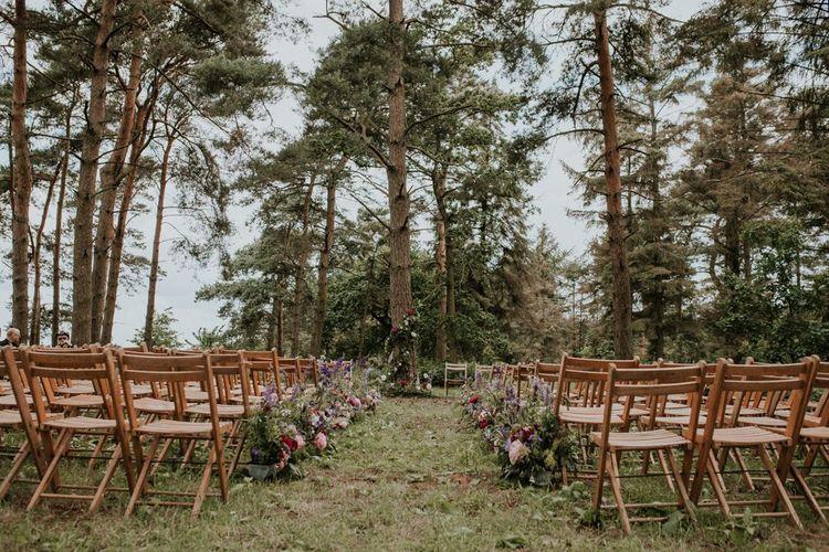 Woodland wedding ceremony in Norfolk
