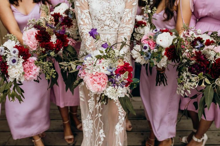 Pink wedding bouquets and dresses for bridesmaids