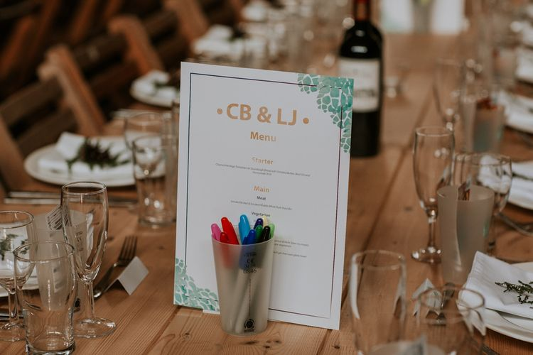Wedding stationery dinner menu