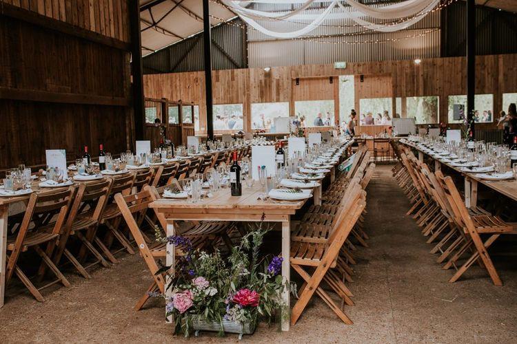 Rustic barn wedding reception at Norfolk wedding venue