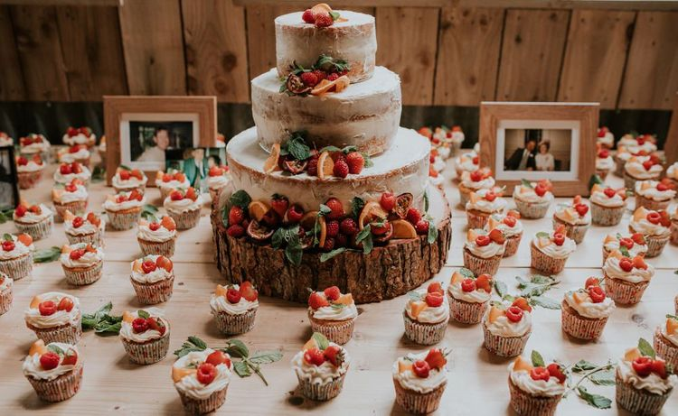 Cupcakes and semi-naked wedding cake