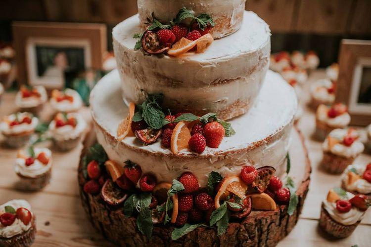 Wedding cake decor with strawberry