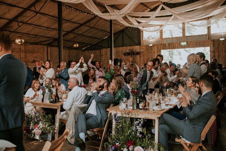 Guest enjoy wedding speeches