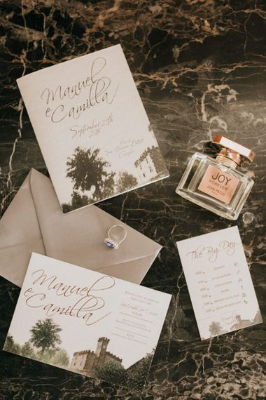 Wedding stationery at destination wedding in Tuscany